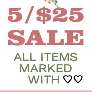 All items marked with ❤️❤️ are 5 items for 25.